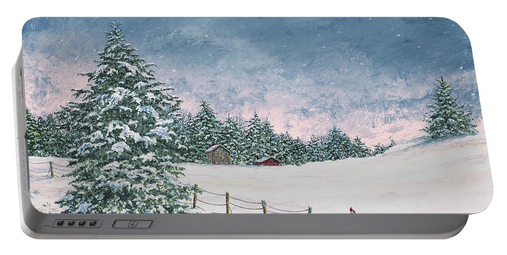 Winter Portable Battery Charger featuring the painting Winter Mornings by James Redding
