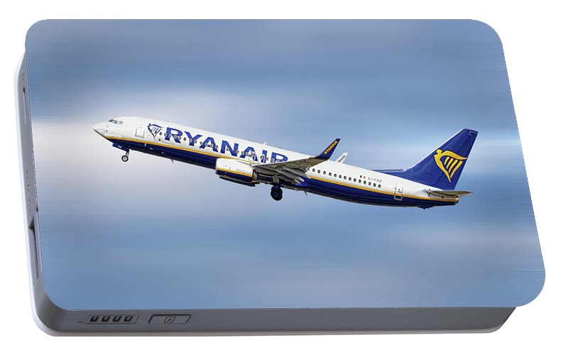 Ryanair Portable Battery Charger featuring the mixed media Ryanair Boeing 737-8as by Smart Aviation