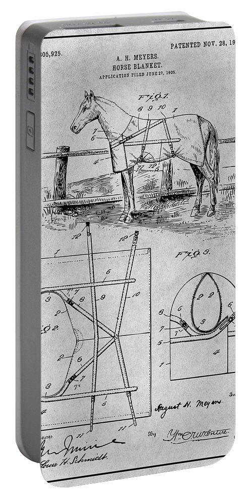Art & Collectibles Portable Battery Charger featuring the drawing 1905 Horse Blanket Patent Print Gray by Greg Edwards
