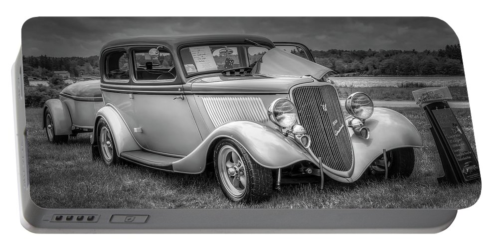 2019 Portable Battery Charger featuring the digital art 1933 Ford Tudor Sedan With Trailer by Ken Morris