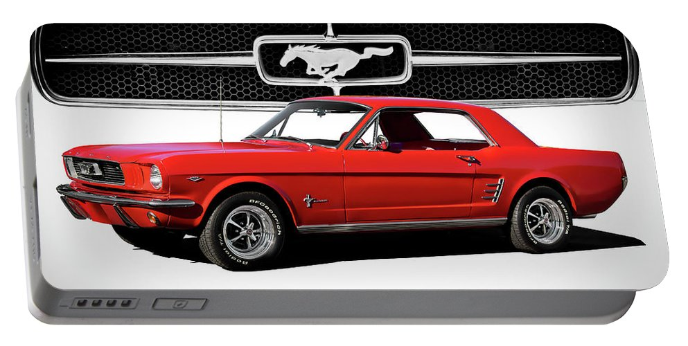 Automobile Portable Battery Charger featuring the photograph 1965 Mustang 289 Coupe by Dave Koontz
