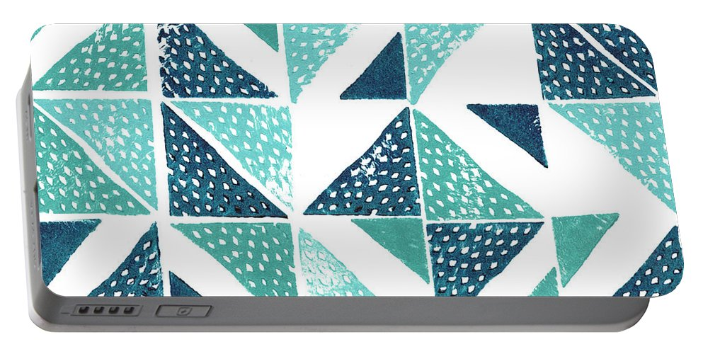 Decorative Portable Battery Charger featuring the painting Beryl Block Print Iv by Grace Popp