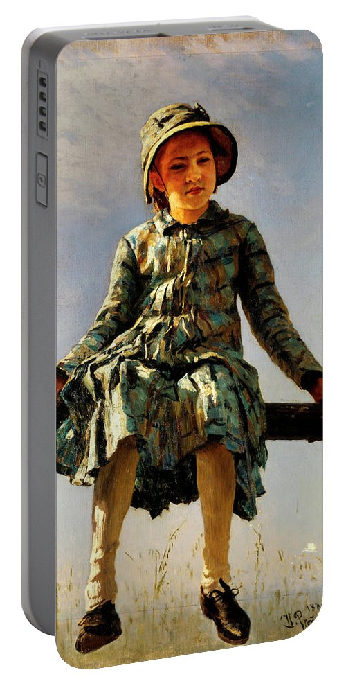 Dragonfly Portable Battery Charger featuring the painting Dragonfly, Painter's Daughter Portrait by Ilya Repin