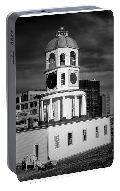 Architecture Portable Battery Charger featuring the digital art Halifax Town Clock 2017 Black And White by Ken Morris