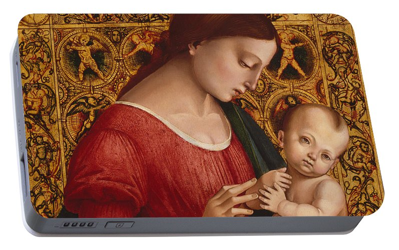 16th Century Art Portable Battery Charger featuring the painting Madonna And Child by Luca Signorelli
