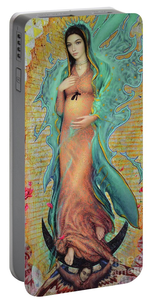 Mother Portable Battery Charger featuring the painting Our Lady of Guadalupe by Smith Catholic Art
