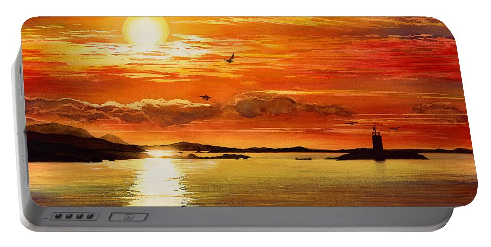 Sunset Portable Battery Charger featuring the painting Sunset Lake by Hailey E Herrera