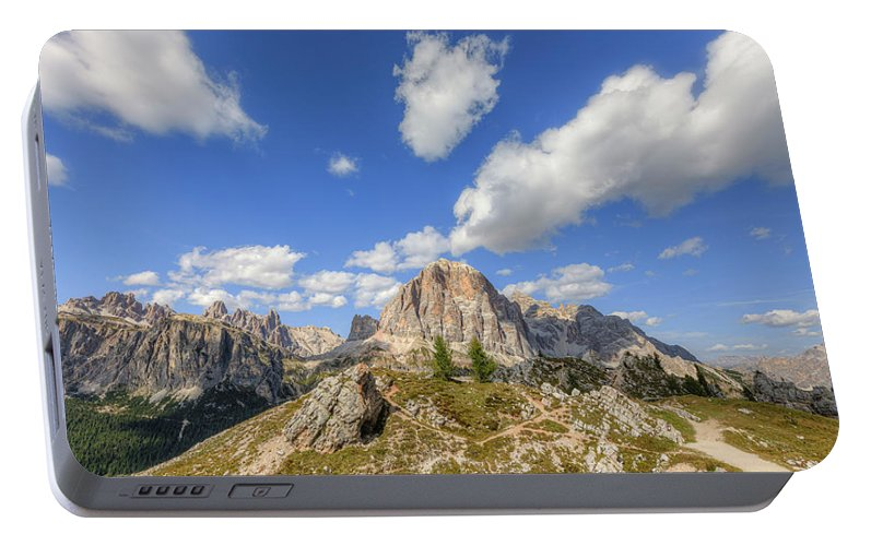 Cinque Torri Portable Battery Charger featuring the photograph Cinque Torri, Dolomites - Italy by Joana Kruse