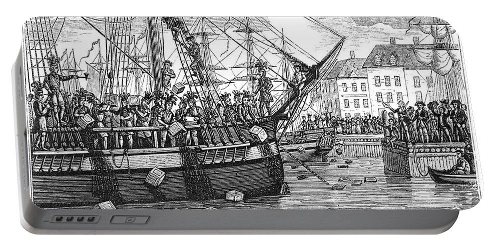 1773 Portable Battery Charger featuring the drawing Boston Tea Party, 1773 by Granger