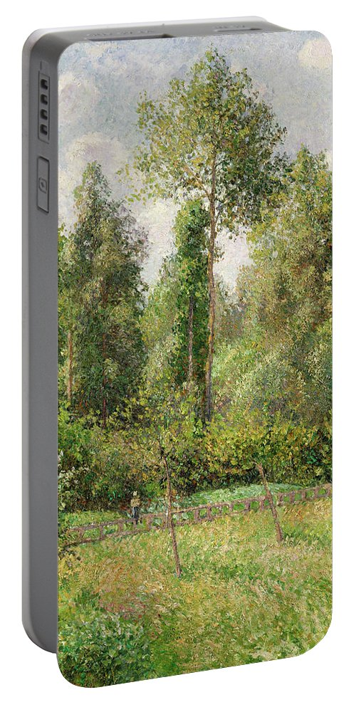 Camille Pissarro Portable Battery Charger featuring the painting Poplars Eragny by Camille Pissarro