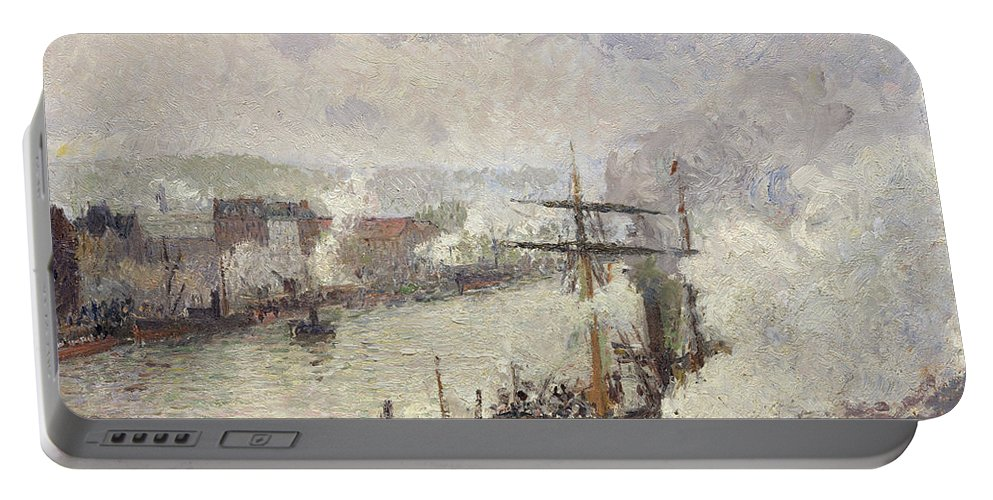 Camille Pissarro Portable Battery Charger featuring the painting Steamboats In The Port Of Rouen by Camille Pissarro