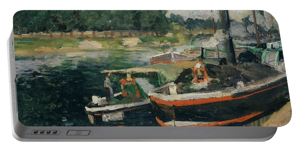 Camille Pissarro Portable Battery Charger featuring the painting Barges At Pontoise by Camille Pissarro