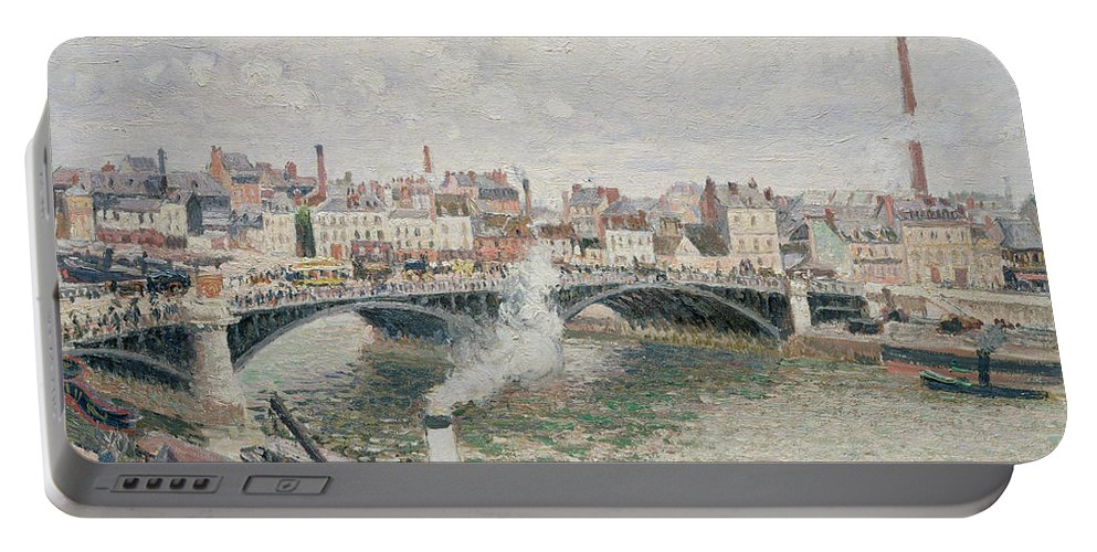 Camille Pissarro Portable Battery Charger featuring the painting Morning An Overcast Day Rouen by Camille Pissarro