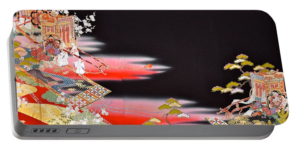 Portable Battery Charger featuring the tapestry - textile Spirit of Japan T81 by Miho Kanamori