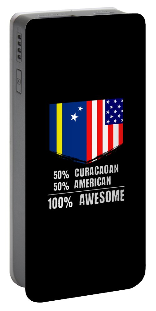 Birthday Portable Battery Charger featuring the drawing 50 Curacaoan 50 American 100 Awesome by The Perfect Presents