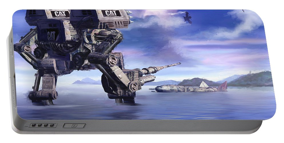 Science Fiction Portable Battery Charger featuring the mixed media 501st Mech Defender by Curtiss Shaffer