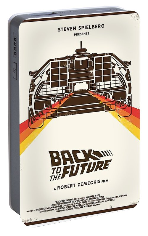 Back To The Future Portable Battery Charger featuring the digital art Back To The Future by Geek N Rock