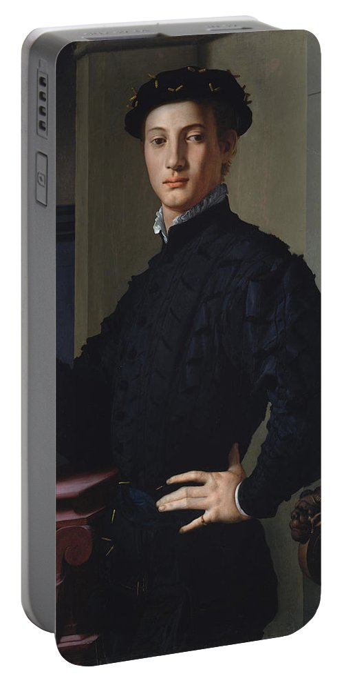 Bronzino Portable Battery Charger featuring the painting Portrait Of A Young Man by Bronzino