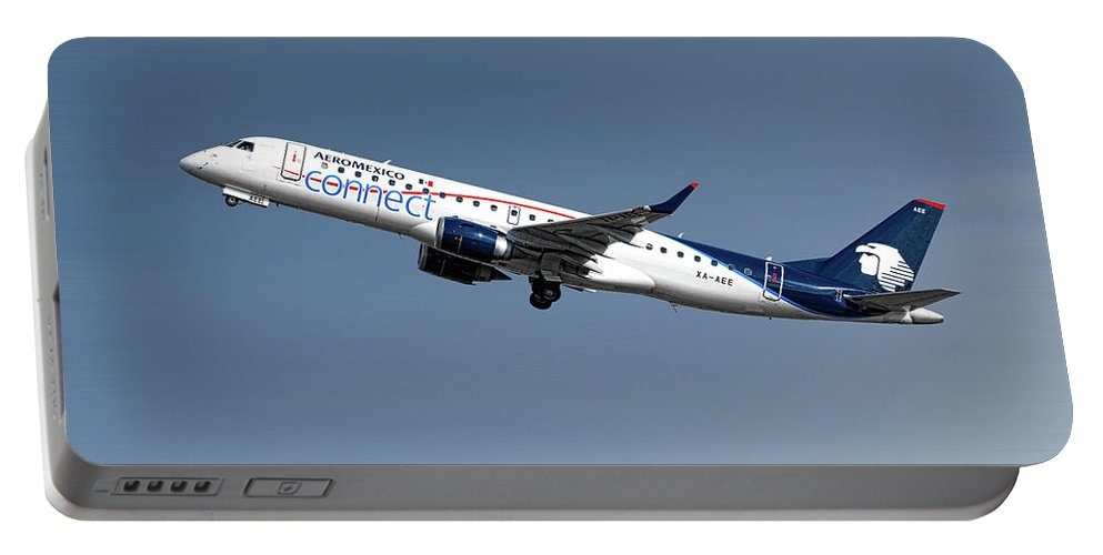 Aeromexico Portable Battery Charger featuring the mixed media Aeromexico Connect Embraer Erj-190ar by Smart Aviation