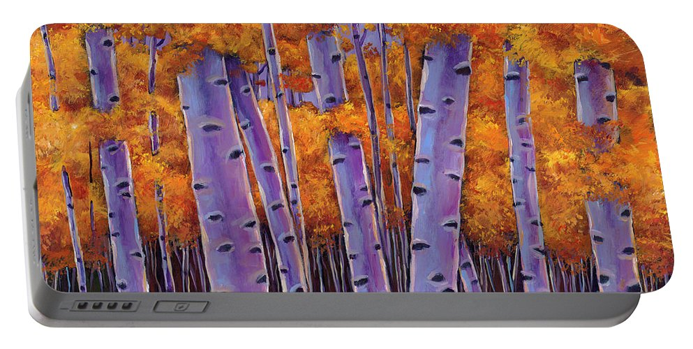 Aspen Trees Portable Battery Charger featuring the painting A Chance Encounter by Johnathan Harris