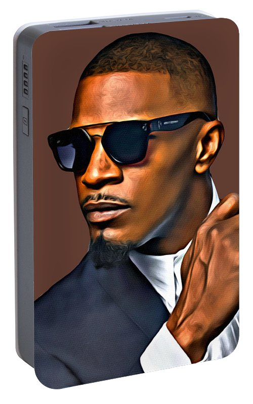 Jamie Foxx Portable Battery Charger featuring the photograph A Foxx Indeed by Karen Showell