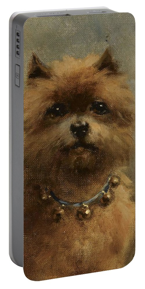 Otto Eerelman Portable Battery Charger featuring the painting A Griffon Bruxellois by Otto Eerelman