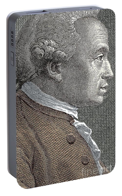 Kant Portable Battery Charger featuring the drawing A Portrait Of Immanuel Or Emmanuel Kant by European School