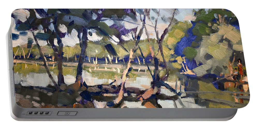 Quiet Portable Battery Charger featuring the painting A Quiet Evening At Bond Lake Park by Ylli Haruni