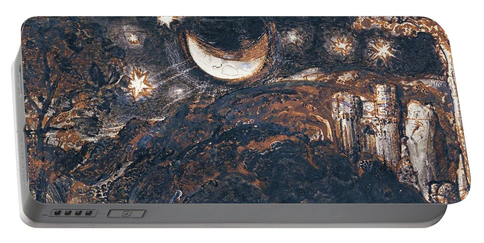 Samuel Palmer Portable Battery Charger featuring the painting A Shepherd And His Flock Under The Moon And Stars - Digital Remastered Edition by Samuel Palmer