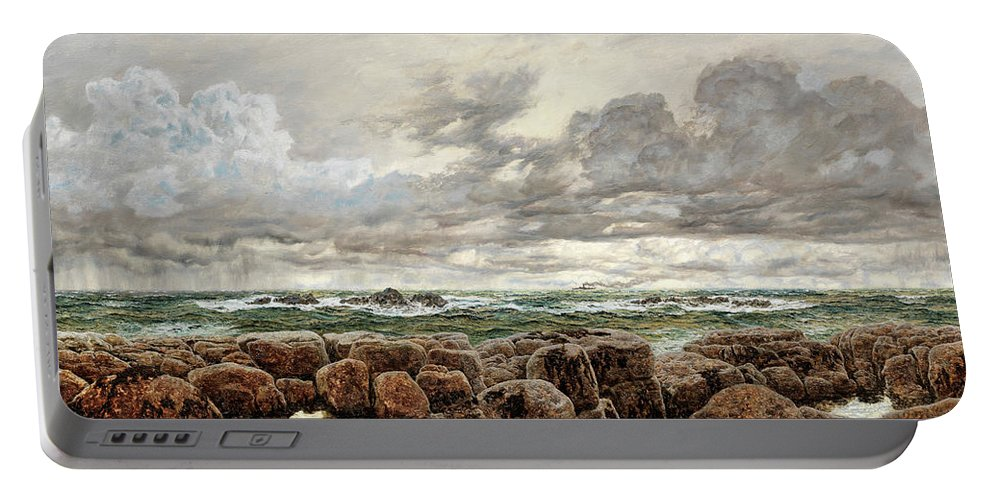 John Brett Portable Battery Charger featuring the painting A Strong Sou-wester On An Iron-bound Coast by John Brett