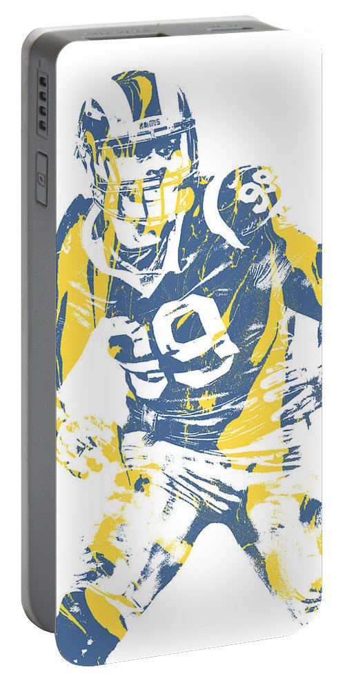 Aaron Donald Portable Battery Charger featuring the mixed media Aaron Donald Los Angeles Rams Pixel Art 13 by Joe Hamilton