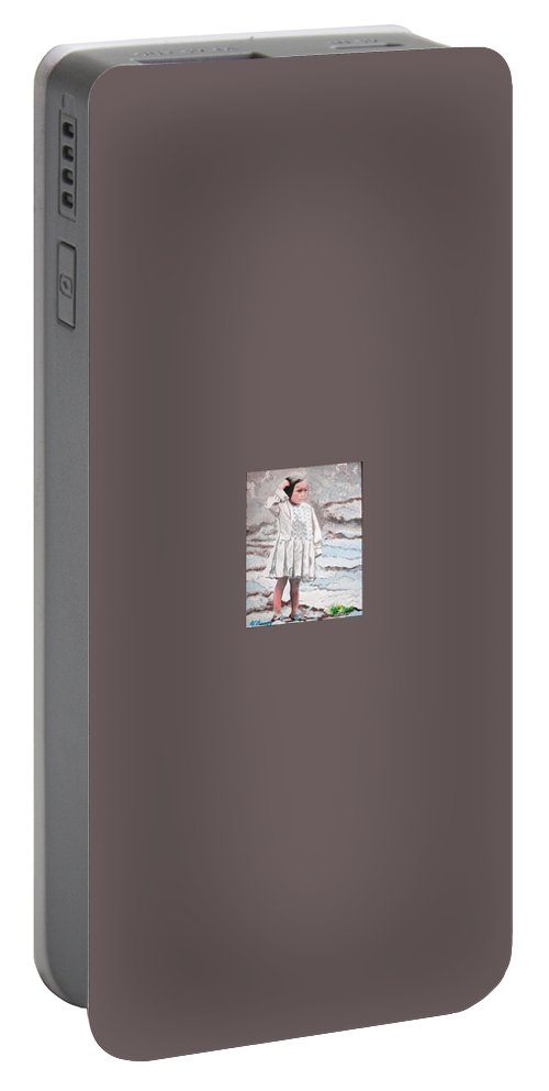Character Study Portable Battery Charger featuring the painting Abandoned by RE  Ruth Thomas