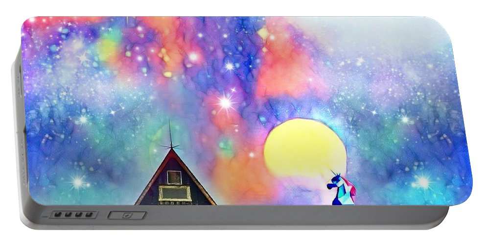 Portable Battery Charger featuring the digital art Abode of the Artificial-Dreamer Zero by Sureyya Dipsar