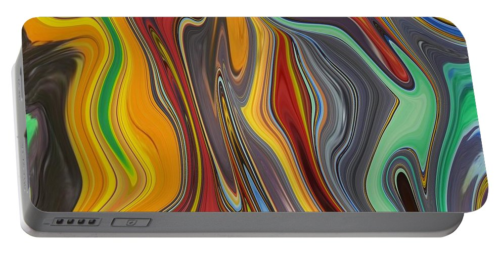 Abstract Portable Battery Charger featuring the painting Abstract Art - Colorful Fluid Painting Pattern by Patricia Piotrak