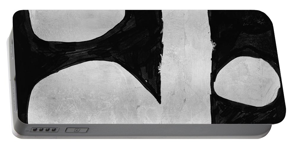 Black And White Portable Battery Charger featuring the painting Abstract Black And White No.44 by Naxart Studio