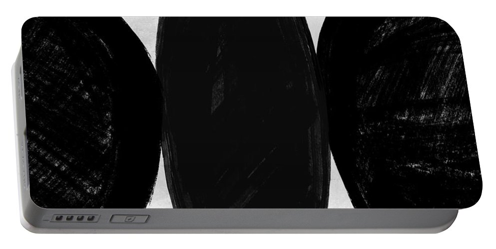 Minimalist And Tasteful Collection Of Mid-century Inspired Black And White Art. Beautiful And Clean Illustrations Portable Battery Charger featuring the painting Abstract Black And White No.48 by Naxart Studio