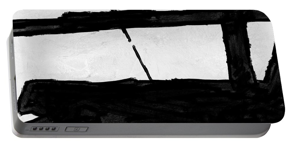 Black And White Portable Battery Charger featuring the painting Abstract Black And White No.68 by Naxart Studio