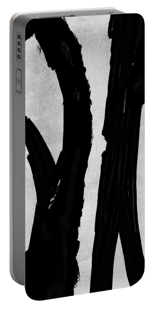 Black And White Portable Battery Charger featuring the painting Abstract Black And White No.72 by Naxart Studio