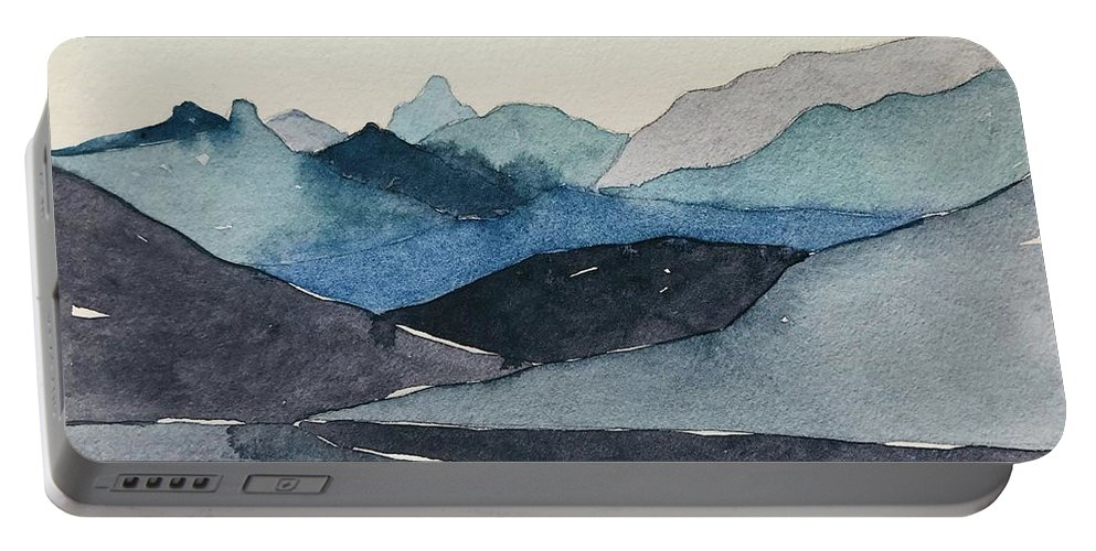 Blue Portable Battery Charger featuring the painting Abstract Blue Hills by Luisa Millicent