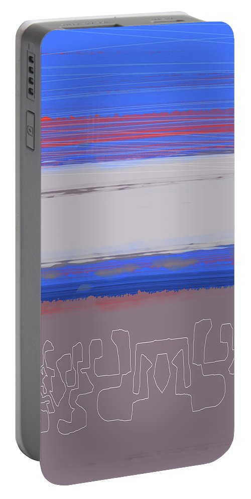 Abstract Portable Battery Charger featuring the painting Abstract Blue View 1 by Naxart Studio
