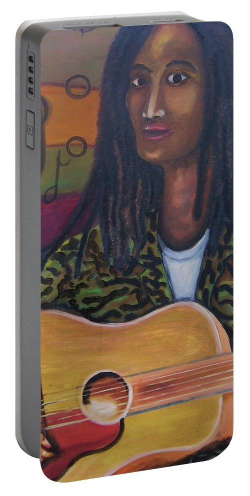 Portable Battery Charger featuring the painting Abstract Music by Andrew Johnson