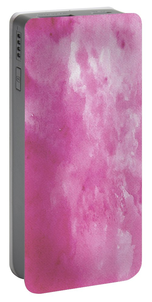 Landscape Portable Battery Charger featuring the painting Abstract Pink Watercolor by Naxart Studio