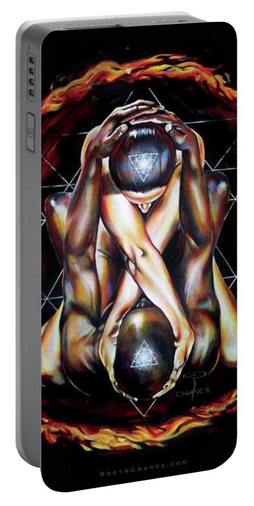 Tantra Portable Battery Charger featuring the painting Alchemical Marriage by Robyn Chance
