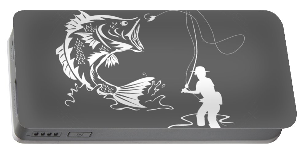 All Moms Portable Battery Charger featuring the digital art All Moms Gave Birth A Child My Mom Gave Birth A Fishing Legend by Do David