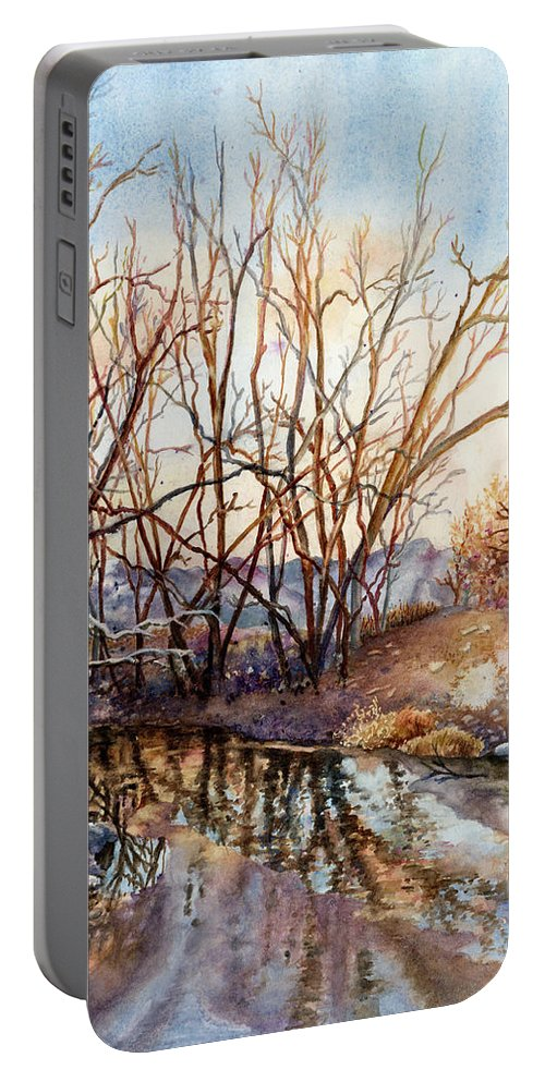 Creek Painting Portable Battery Charger featuring the painting Along Boulder Creek by Anne Gifford