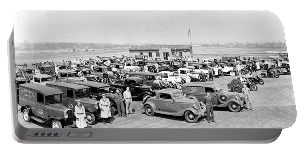 Photography Portable Battery Charger featuring the photograph American Automobile Association Aaa by Fred Schutz Collection