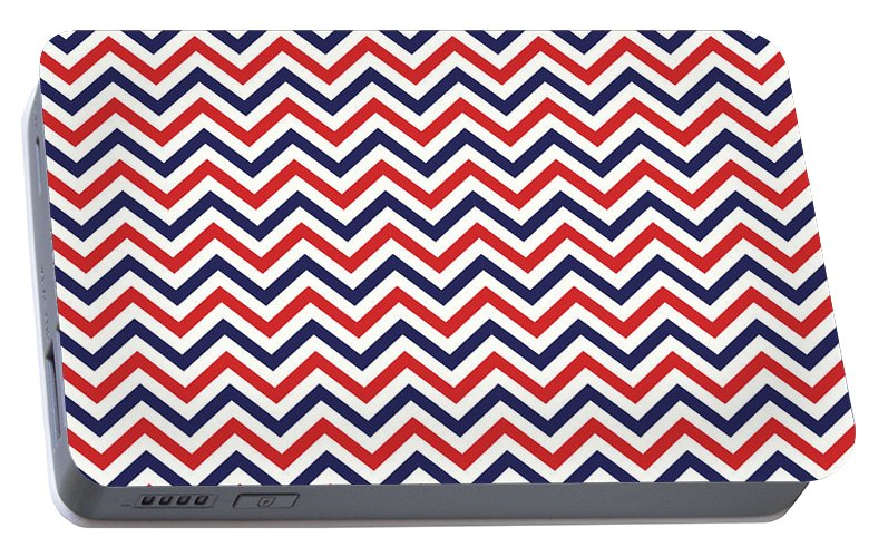 Chevron Portable Battery Charger featuring the mixed media American National Colors Red White Blue Zigzag Seamless Pattern by Mohamed Rasik