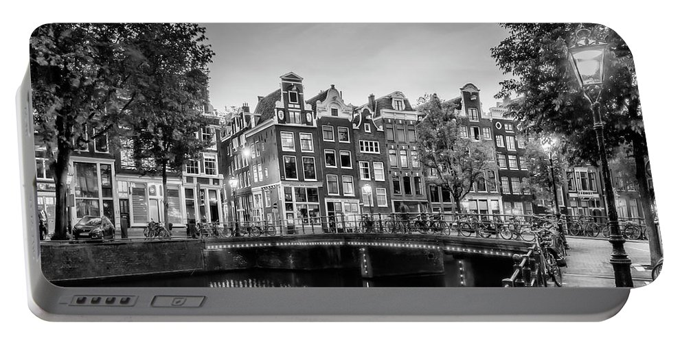 Amsterdam Portable Battery Charger featuring the photograph Amsterdam Idyllic Impression From Singel - Monochrome by Melanie Viola