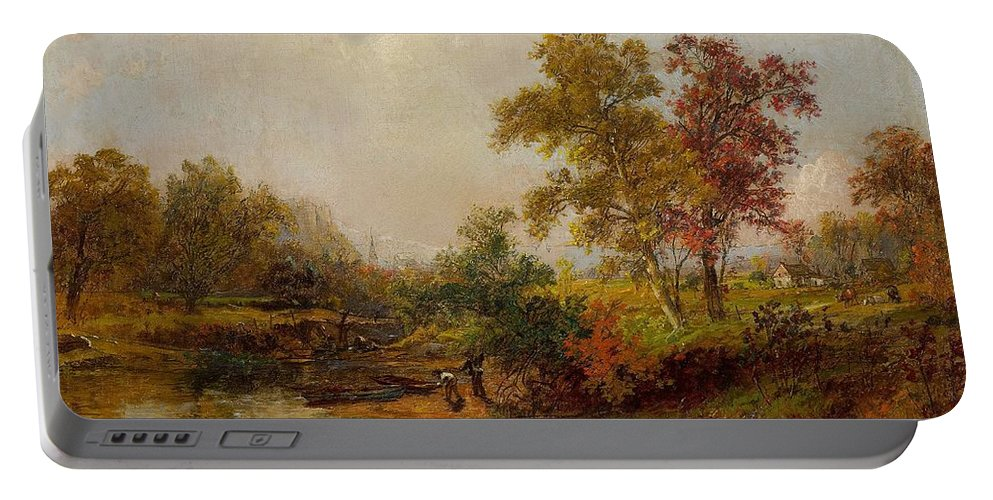 Jasper Francis Cropsey Portable Battery Charger featuring the painting An October Day by Jasper Francis Cropsey