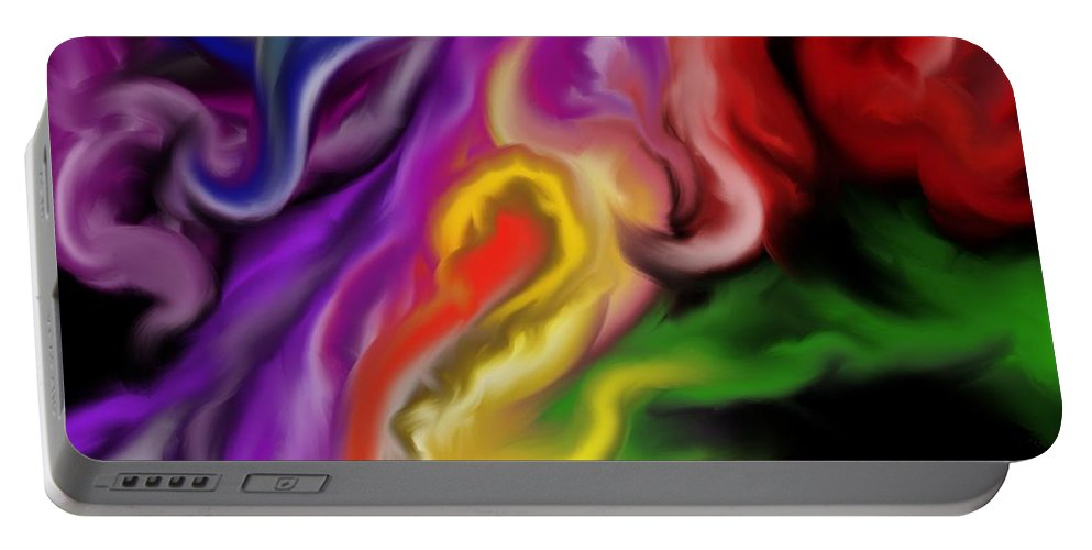 Fire Portable Battery Charger featuring the painting Angel Of Fire by Patricia Piotrak